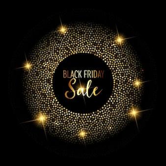 Fundo preto venda sexta-feira com projeto brilhante