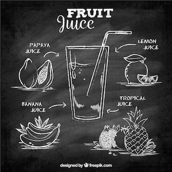 Fundo, quadro-negro, frutas, sucos
