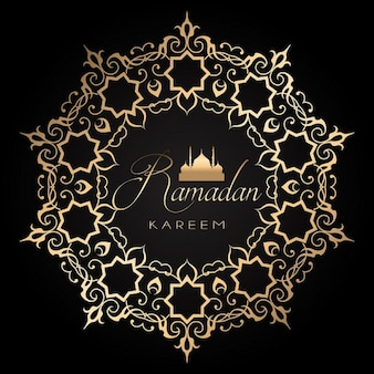 fundo Ramadã elegante com ouro e design preto