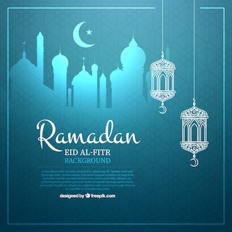 Fundo ramadan azul com ornamentos