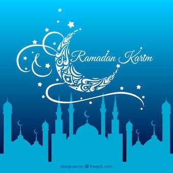 Fundo ramadan azul com uma mesquita silhuetas