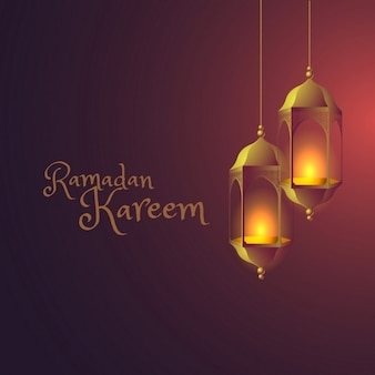 fundo ramadan com lâmpadas penduradas