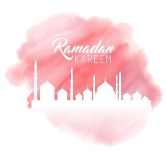 fundo Ramadan com um efeito de aquarela