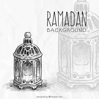 Fundo ramadan esboço lanterna