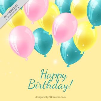 Fundo realista com balões de aniversário decorativo