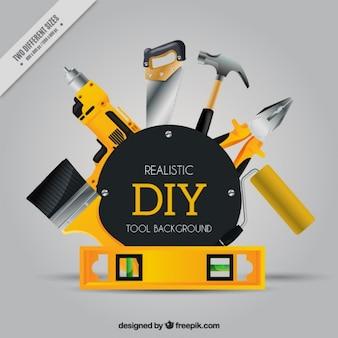 Fundo realista sobre ferramentas de artesanato