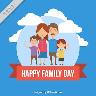Fundo redondo com a família feliz e fita vermelha