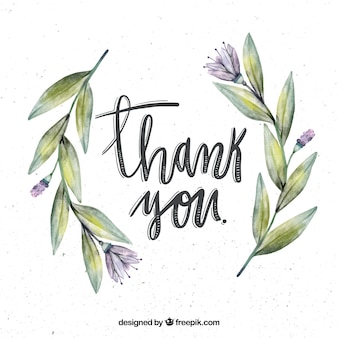 Fundo retro com flores de aguarela e obrigado mensagem