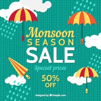 Fundo retro de vendas de monções com nuvens e guarda-chuva em design plano