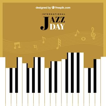 Fundo retro dia jazz com teclas de piano e pentagrama