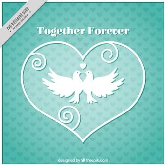 Fundo romântico com corações e pombas