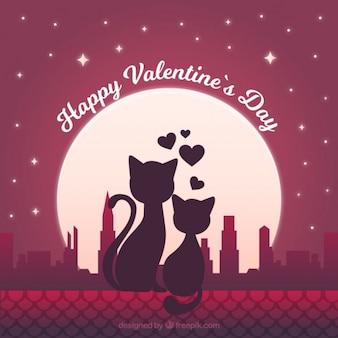 Fundo romântico com gatos no amor