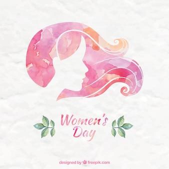 Fundo rosa Aquarela Dia da Mulher