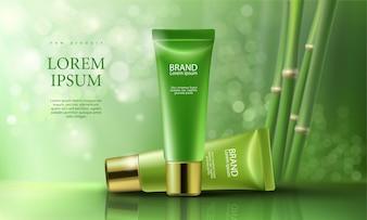 Fundo rosa com produtos cosméticos hidratantes dia e noite premium