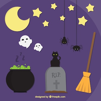 Fundo roxo agradável para o dia das bruxas