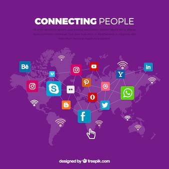 Fundo roxo com mapa do mundo e ícones de redes sociais