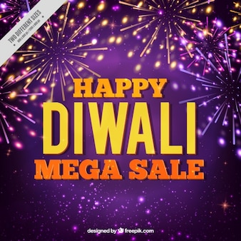 Fundo roxo venda de Diwali com fogos de artifício