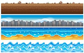 Fundo sem costura com água e cena da cidade