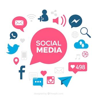 Fundo social dos media com detalhes azuis