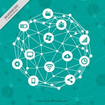 Fundo tecnológico com elementos do computador
