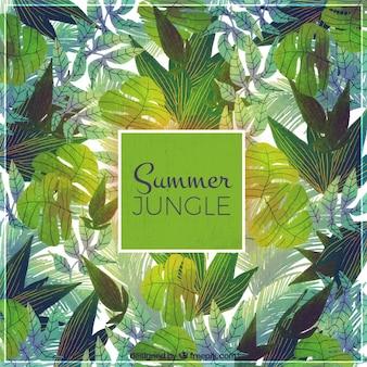 Fundo, tropicais, aquarela, folhas