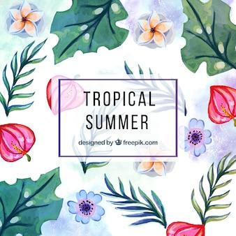 Fundo tropical da aguarela com flores e folhas