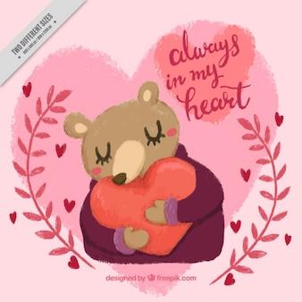 Fundo urso adorável que abraça um coração