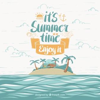 Fundo, verão, tempo, ilha