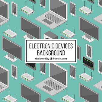 Fundo verde com dispositivos tecnológicos isométricos