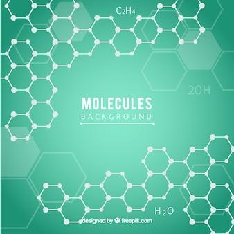 Fundo verde com hexágonos e moléculas