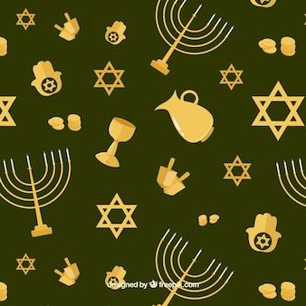 Fundo verde com objetos Hanukkah douradas no design plano
