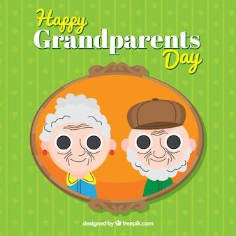 Fundo verde com quadro de fotos de avós