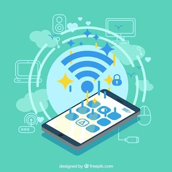 Fundo verde com sinal wifi e telefone móvel