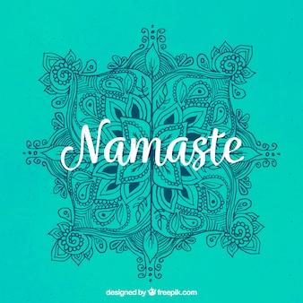 Fundo verde Namaste com mandala desenhada à mão