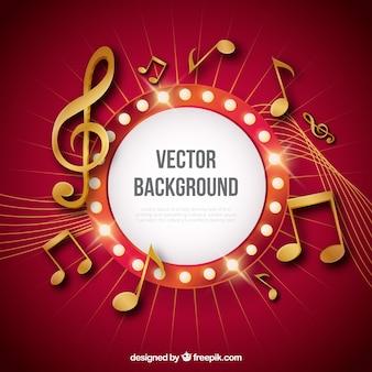Fundo vermelho com notas musicais douradas