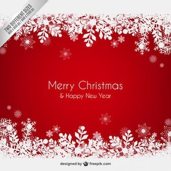 Fundo vermelho do Natal com flocos de neve