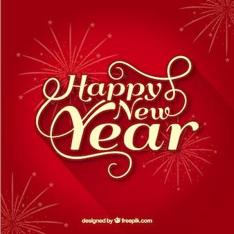 Fundo vermelho feliz ano novo