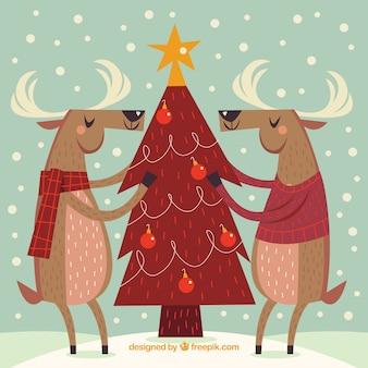 Fundo vintage com árvore de Natal e rena