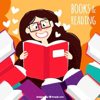 Fundo vintage de leitura linda da menina