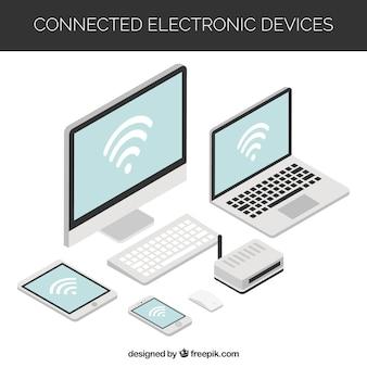 Fundo Wifi com vários dispositivos eletrônicos em design isométrico