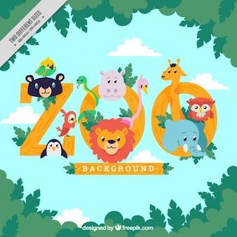 fundo zoológico com animais agradáveis
