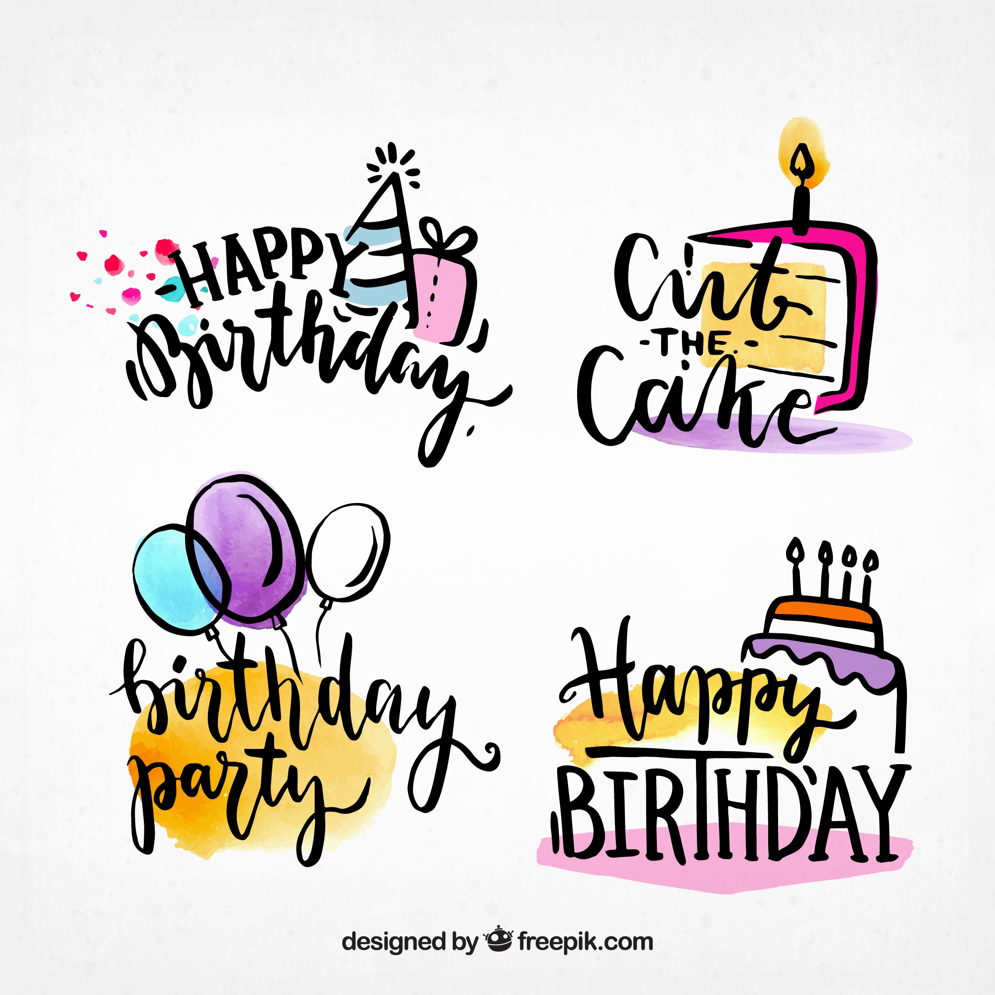Funny water color birthday labels collection