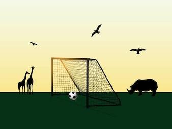 Futebol no campo animais África