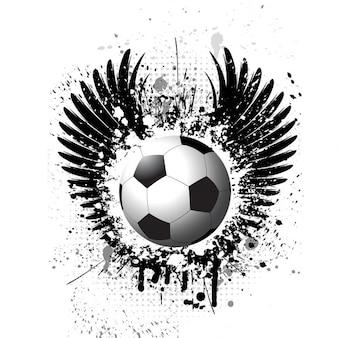 Futebol no fundo do grunge com asas silhueta