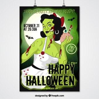 Garota-propaganda Zombie para a festa do dia das bruxas