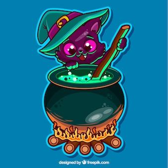 Gato do Dia das Bruxas que cozinha uma poção mágica