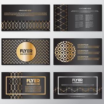 Geometria dourada panfletos coloridos
