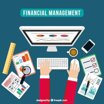 Gestão financeira com design plano