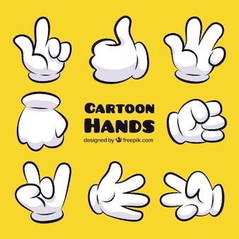 Gestos da mão dos desenhos animados