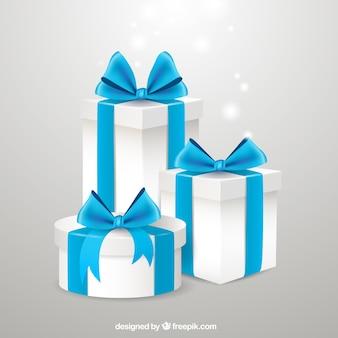 Giftboxes com fitas azuis